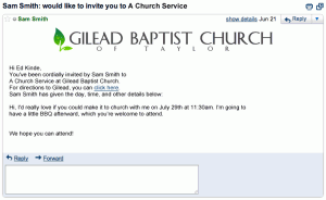 You're invited to a Church Service
